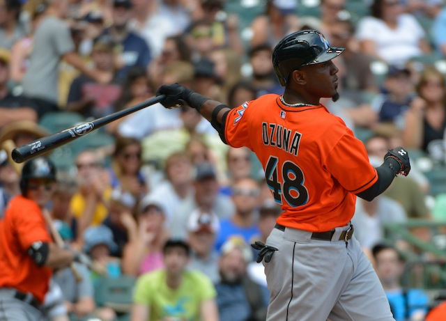 Jul 21, 2013; Milwaukee, WI, USA;  Miami Marlins right fielder Marcell Ozuna during the game against the Milwaukee Brewers at Miller Park. Mandatory Credit: Benny Sieu-USA TODAY Sports